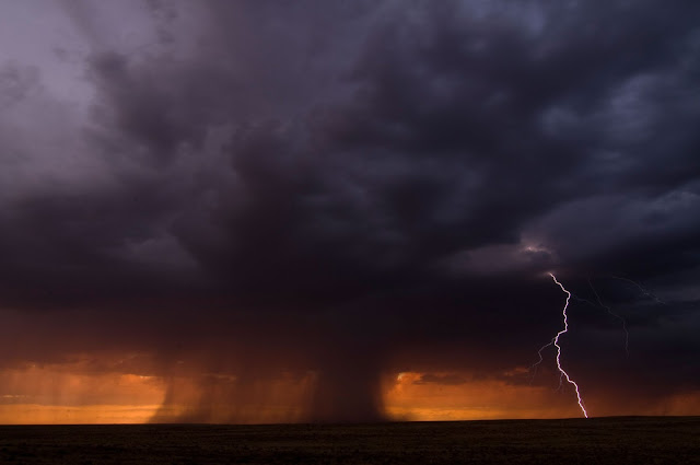 Storm and Lightning over Petrified Forest National Park