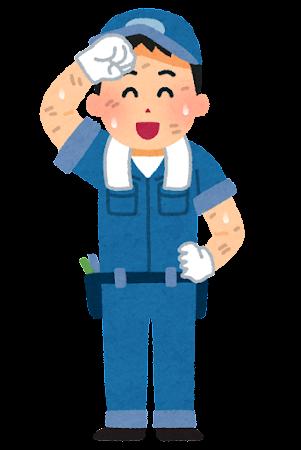 汗を拭う整備士のイラスト