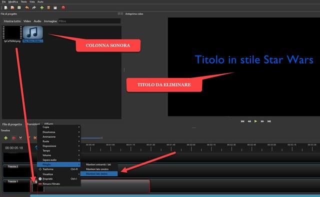 eliminare la prima parte del video con il nome del file