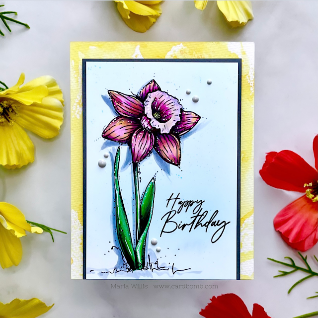 Cardbomb, Maria Willis, cards, cardmaking, stamps, stamping, ink, paper, papercraft,#flowers, happy birthday, art, color, copics,copic markers