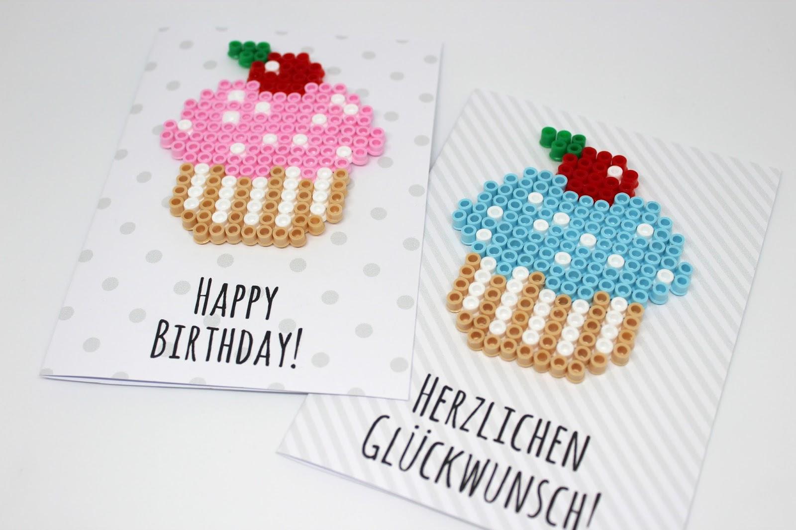 Diy Geburtstagkarten Aus Hama Bügelperlen Selber Machen Kostenlose