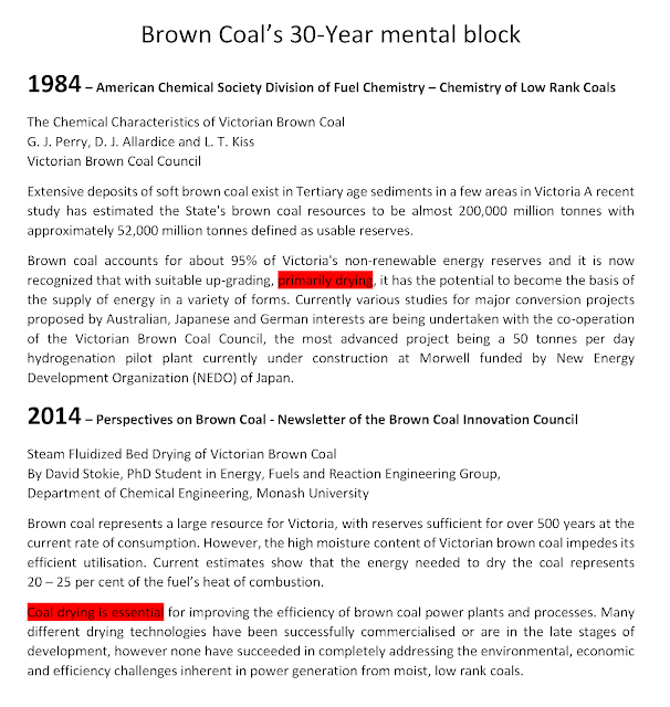"Brown coal researchers have been stuck with a ""dry me first"" mental block"