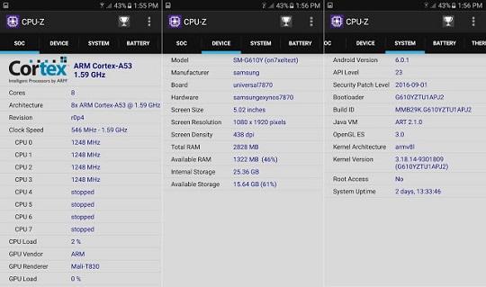 Samsung Galaxy J7 Prime CPU Z Info