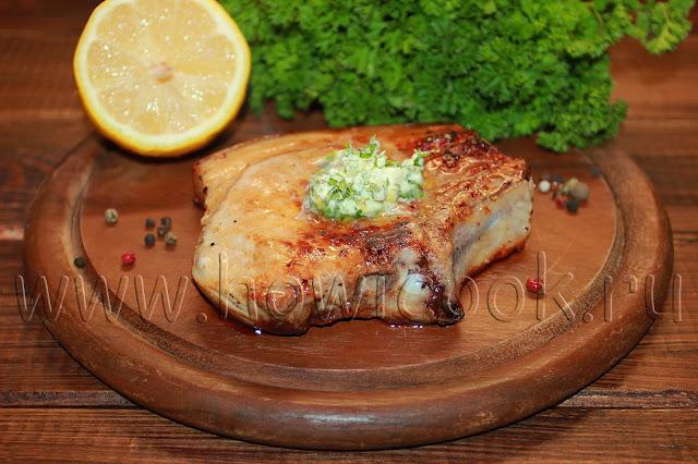 рецепт свиной котлеты на кости с зеленым маслом