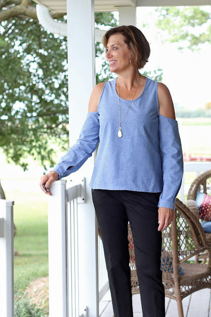 McCall's 7510 long sleeve cold shoulder top made from Mood Fabrics' Chambray