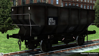 Fastline Simulation: At a point somewhere near the end of its working life this dia. 1/141 HOT 21T coal hopper is seen with very little grey paint remaining and a partially boxed data panel with HTO TOPS code.