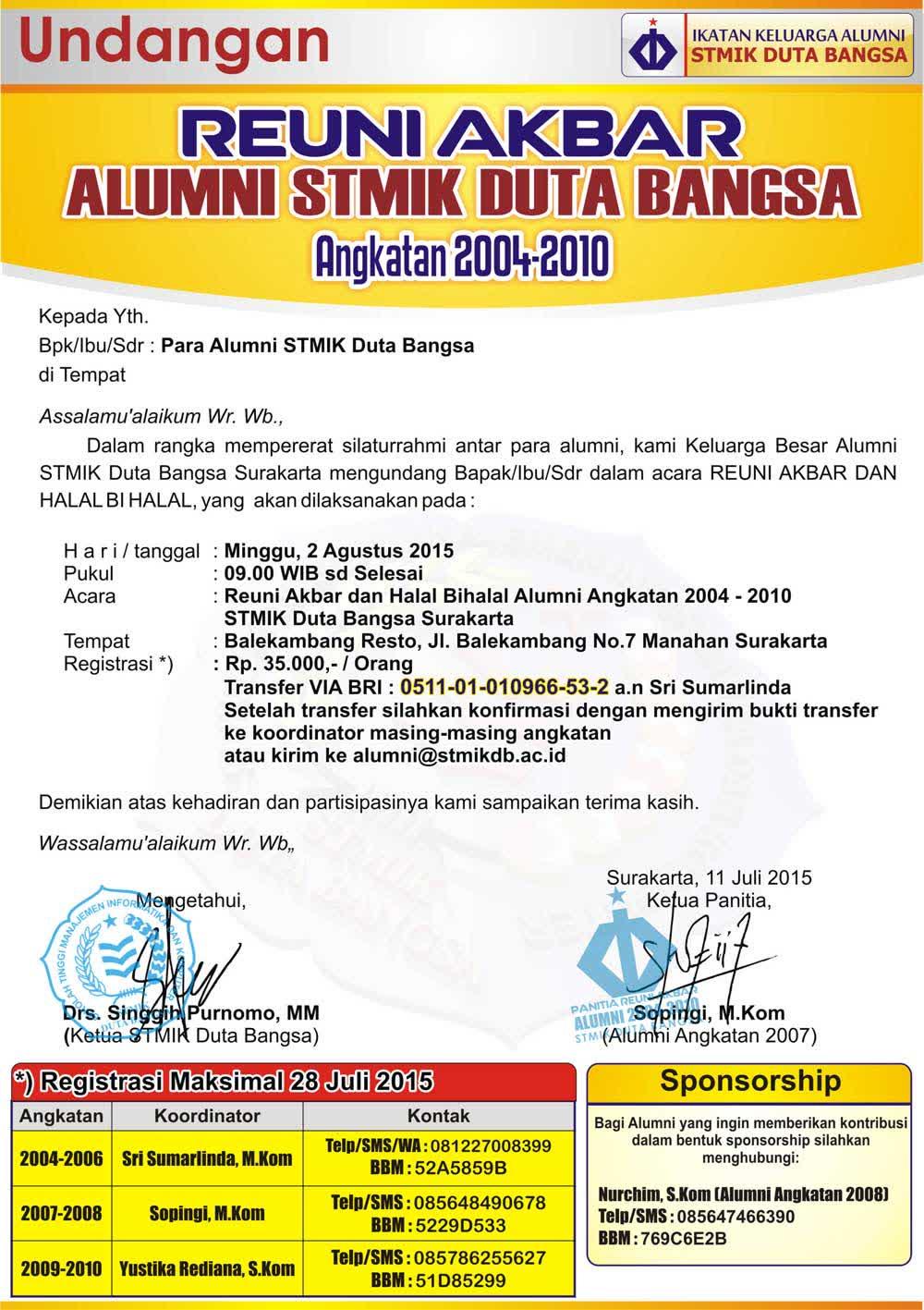 Ilmuku Ilmumu Undangan Reuni Akbar Dan Halal Bi Halal Alumni Stmik