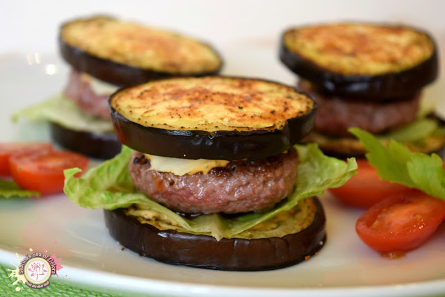 Mini hamburguesas light de ternera con berenjena