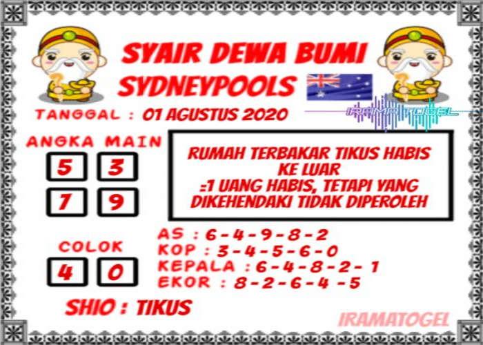 Kode syair Sydney Sabtu 1 Agustus 2020 85