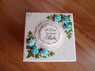 Exploding box na ślub w błękitach
