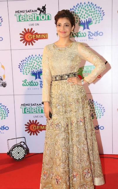 Kajal Aggarwal in Gold Color Embroidered Floor Length Anarkali  at Memu Saitam Event