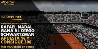 betfair supercuota Roland Garros NADAL gana Schwartzman 9-10-2020
