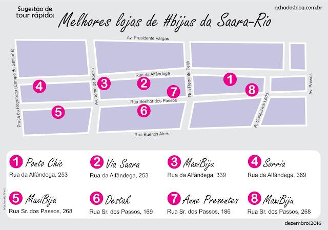 Mapa tour lojas de bijuterias da Saara