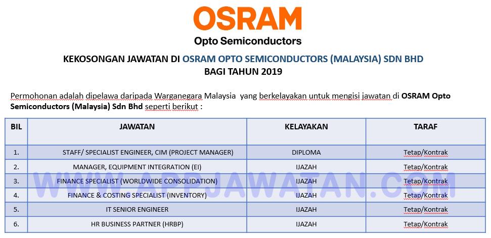 Jawatan Kosong Terkini Di Osram Opto Semiconductors Malaysia Sdn Bhd Appjawatan Malaysia