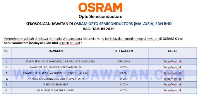 Jawatan Kosong Terkini di OSRAM Opto Semiconductors (Malaysia) Sdn Bhd.