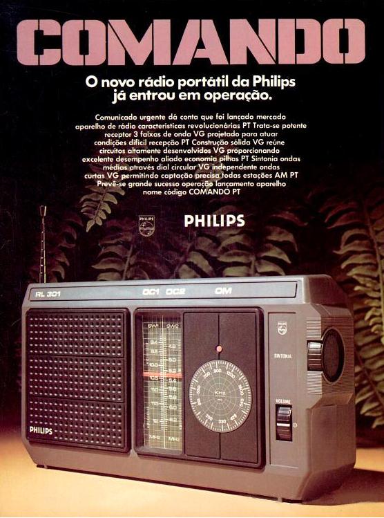 Anúncio veiculado em 1977 onde a Philips promovia seu rádio portátil