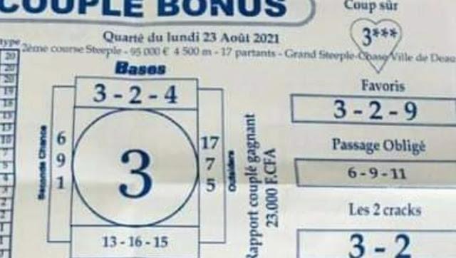 Pronostics quinté+ pmu Lundi Paris-Turf-100 % 23/08/2021
