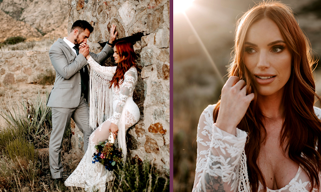 beautiful long haired bride in fringe wedding gown outdoor sunset wedding