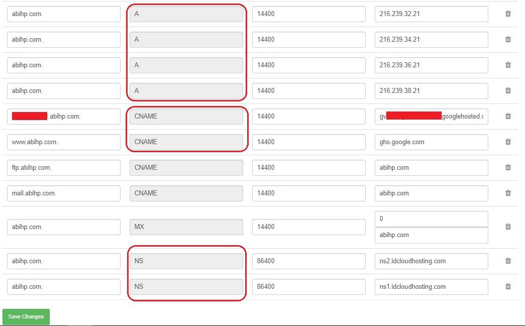 Ada 8 record yang terdapat pada dns manager exabytes