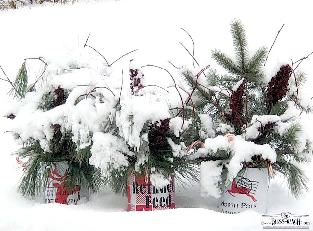Natural Greens Stenciled Christmas buckets Old Sign stencils Bliss-Ranch.com