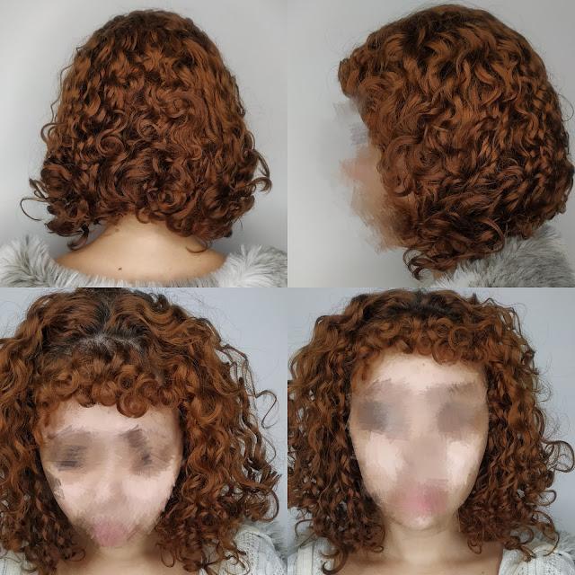 cabelo cacheado ruivo desbotado touca de cetim antes e depois