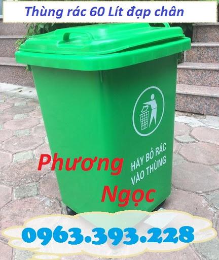 Thùng rác 60L nhựa HDPE, thùng rác 60 Lít nắp kín, thùng rác đạp chân NK60L3