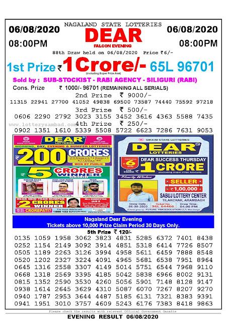 Nagaland State Lotteries 06-08-2020 Lottery Sambad Result 8:00 PM
