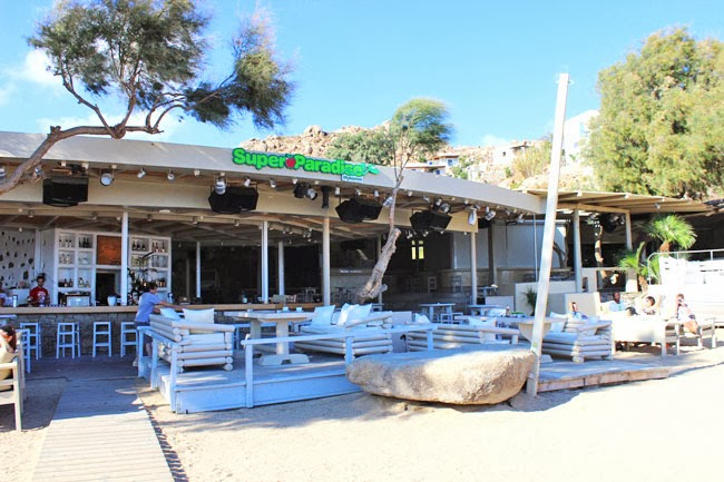 Super Paradise beach bar in Mykonos island