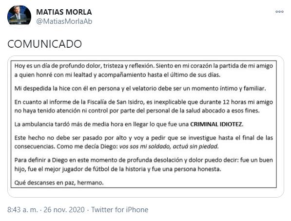 La muerte de Maradona: Comunicado de Matias Morla