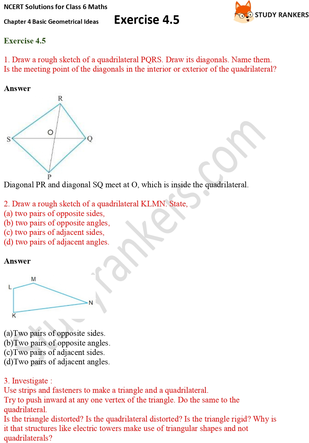 NCERT Solutions for Class 6 Maths Chapter 4 Basic Geometrical Ideas Exercise 4.5 Part 1