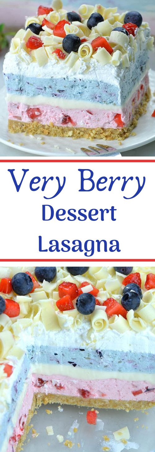 Very Berry Dessert Lasagna #dessert #cake #lasagna #bars #brownies