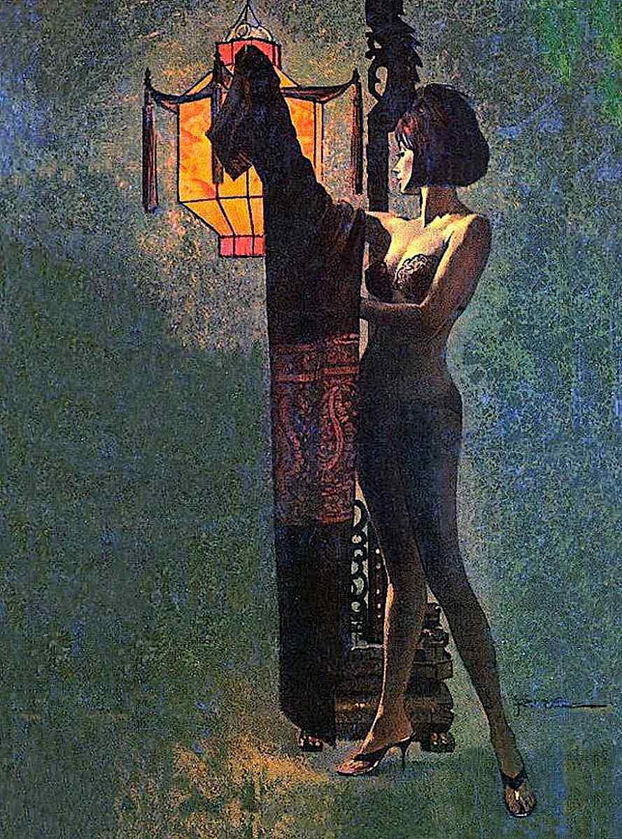 a Robert McGinnis illustration of a woman disrobing near a lantern