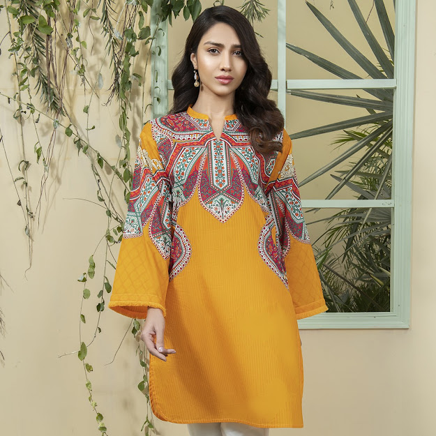 Limelight lawn summer mustard color printed shirt