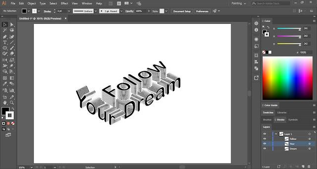 3D Isometric Text Effect in Adobe Illustrator