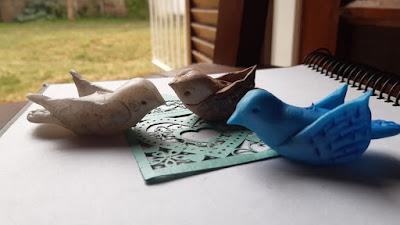 Pájaros en porcelana fría para borlas de puertas