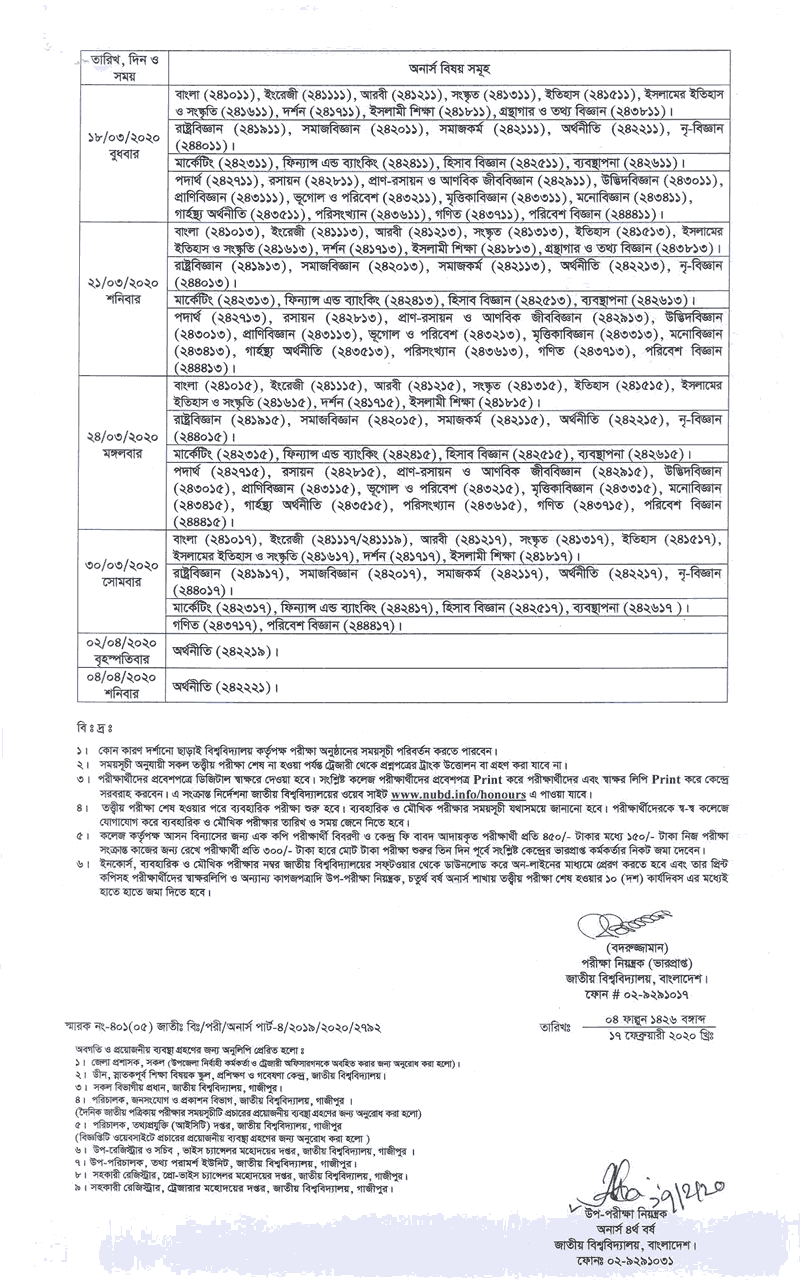 Honours 4th year changed routine 2020 part2