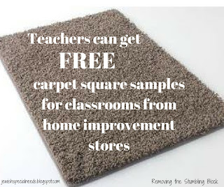 FREE carpet squares for classrooms from home improvement stores, Removing the Stumbling Block