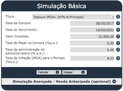 Simulação Tesouro Direto IPCA+ x Debenture
