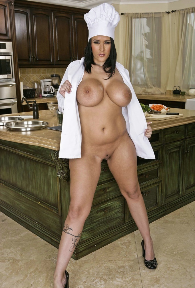 Busty naked chef september carrino in the kitchen