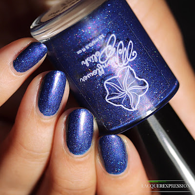 Nail polish swatch of Hope of the Brave, a navy blue polish by Moonflower Polish for PPU June 2018