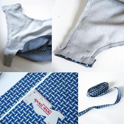 image de couture Datura chambay et shweshwe indigo Maillage