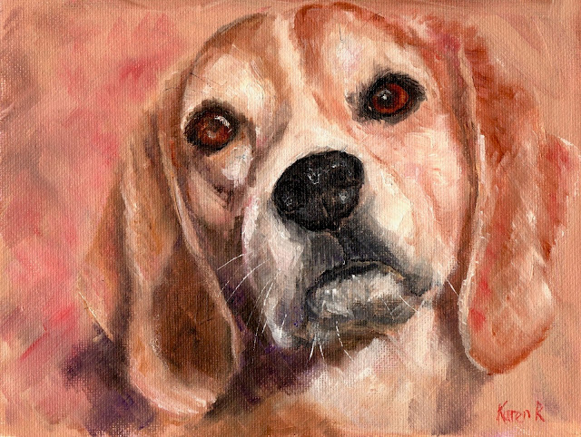 Oil painting of a beautiful beagle using a limited palette