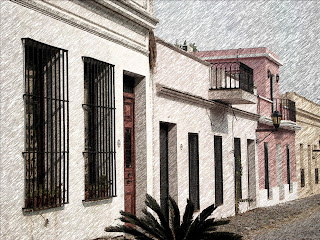 Construções Simples na Cidade História de Colonia Del Sacramento
