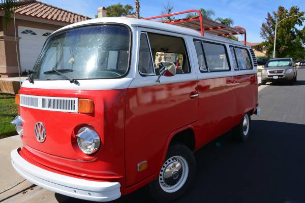 1974 VW Bus With Roof Rack, Ready To Go Surfing   VW Bus