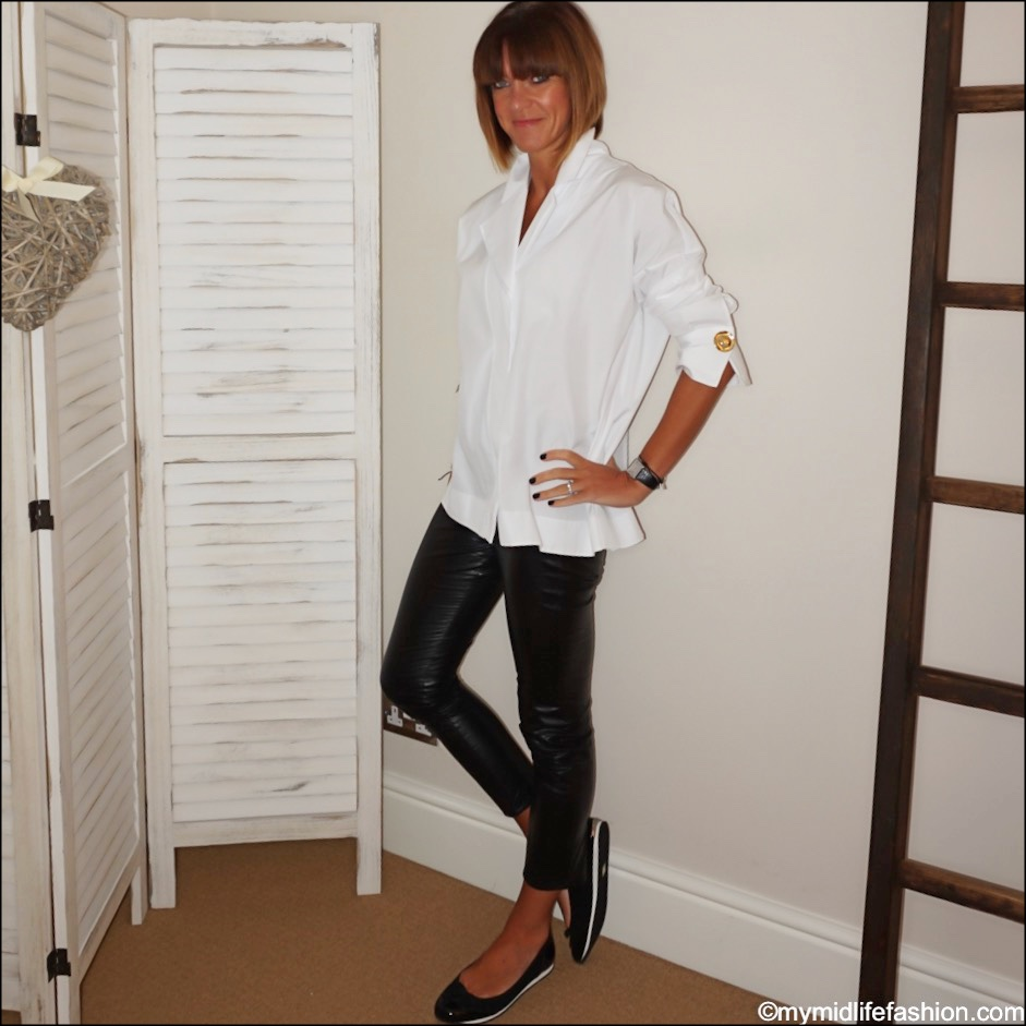 my midlife fashion, uterque oversized shirt, Isabel Marant Etoile faux leather leggings, sloafer Alicia