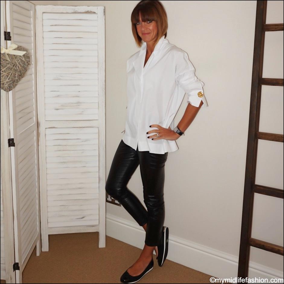 my midlife fashion, uterque oversized shirt, Isabel Marant Etoile faux leather leggings, sloafer Alicia
