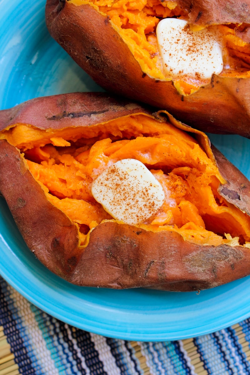 Sweet potatoes prepared in the instant pot are fluffy and perfectly cooked in way less time than it takes to cook them in the oven! #pressurecooking #instantpot #sweetpotatoes