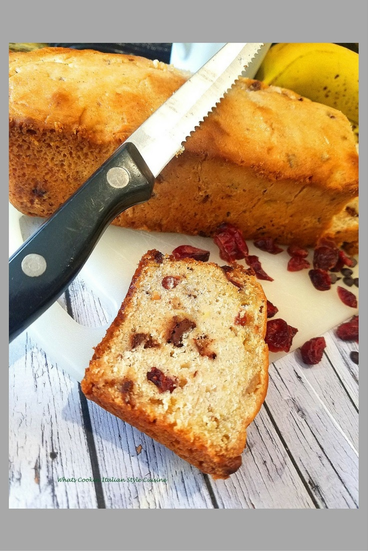 This is no ordinary banana bread its loaded with chocolate chips and dried cherries!