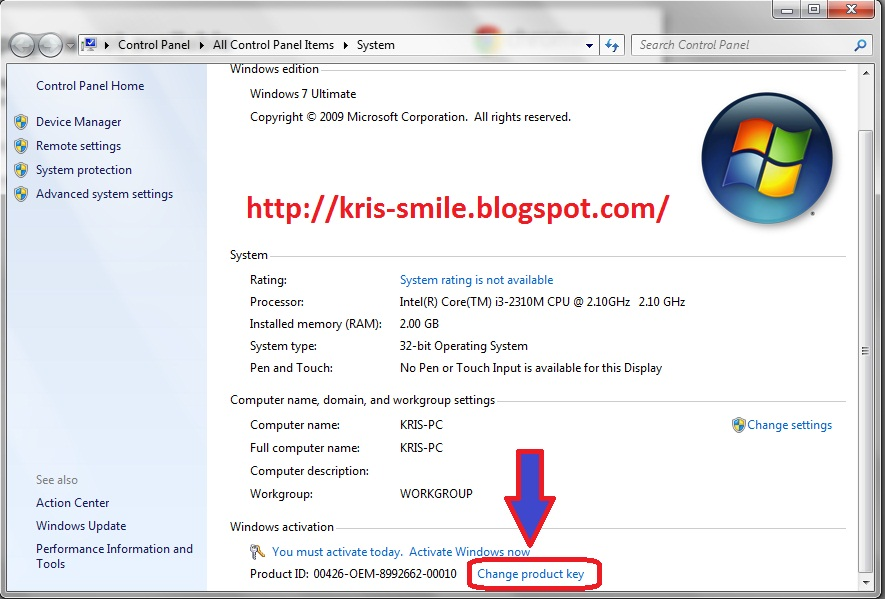 how to change windows 7 serial key