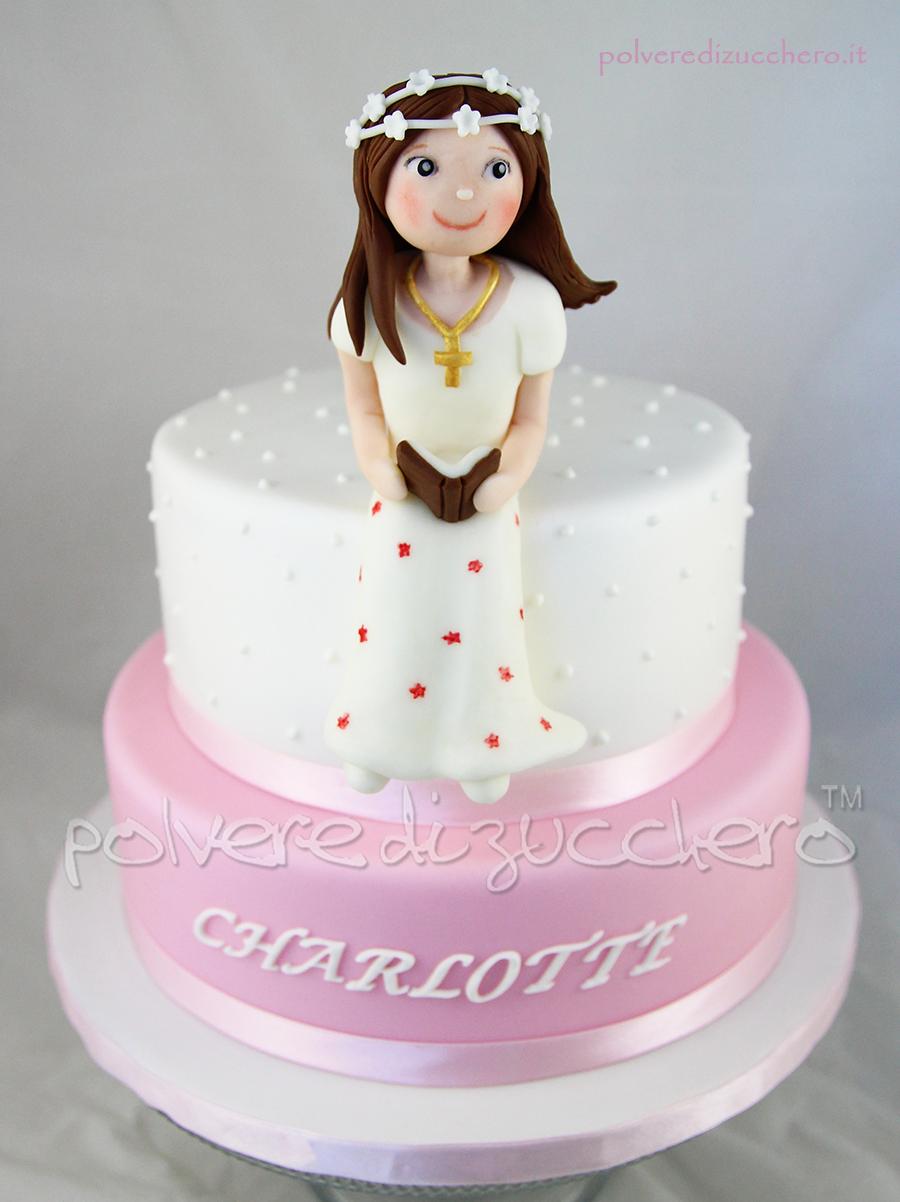 abbastanza Torta decorata in pasta di zucchero per una comunione con bimba  WD97